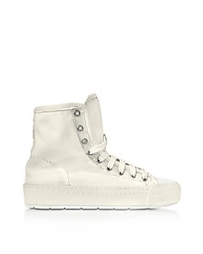 Sneakers Montantes Femme en Toile et Cuir Blanc Cassé - MM6 Maison Martin Margiela