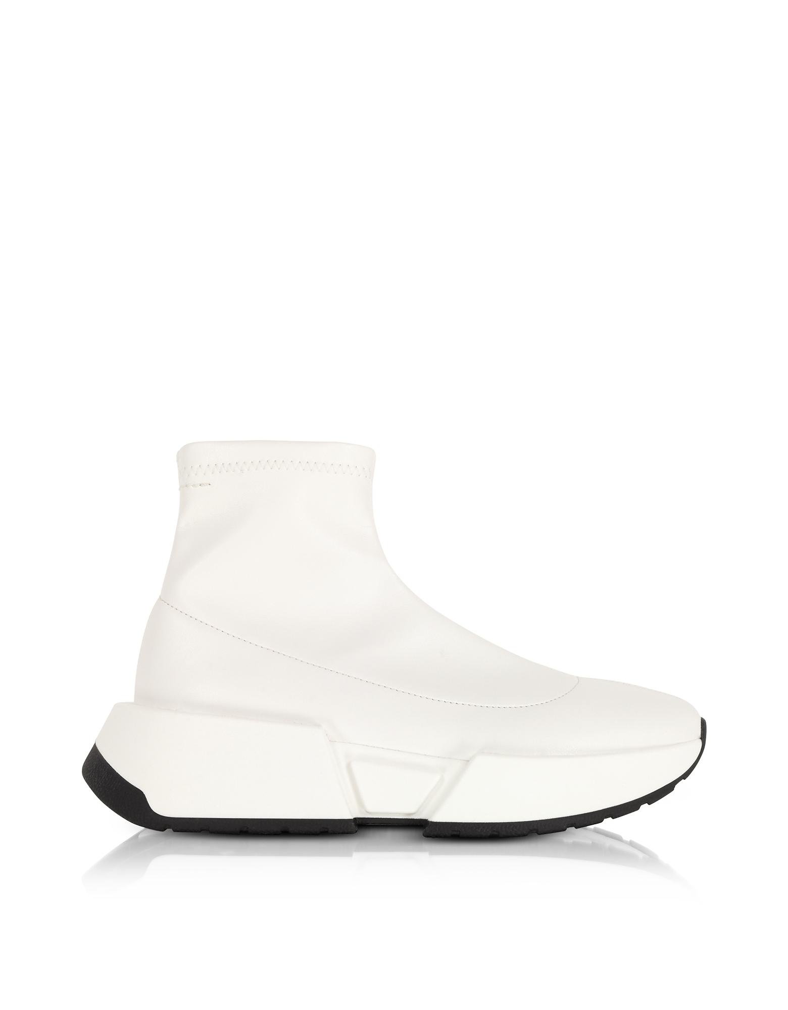 Stretch Blanc En Cuir De Chaussettes Sneakers