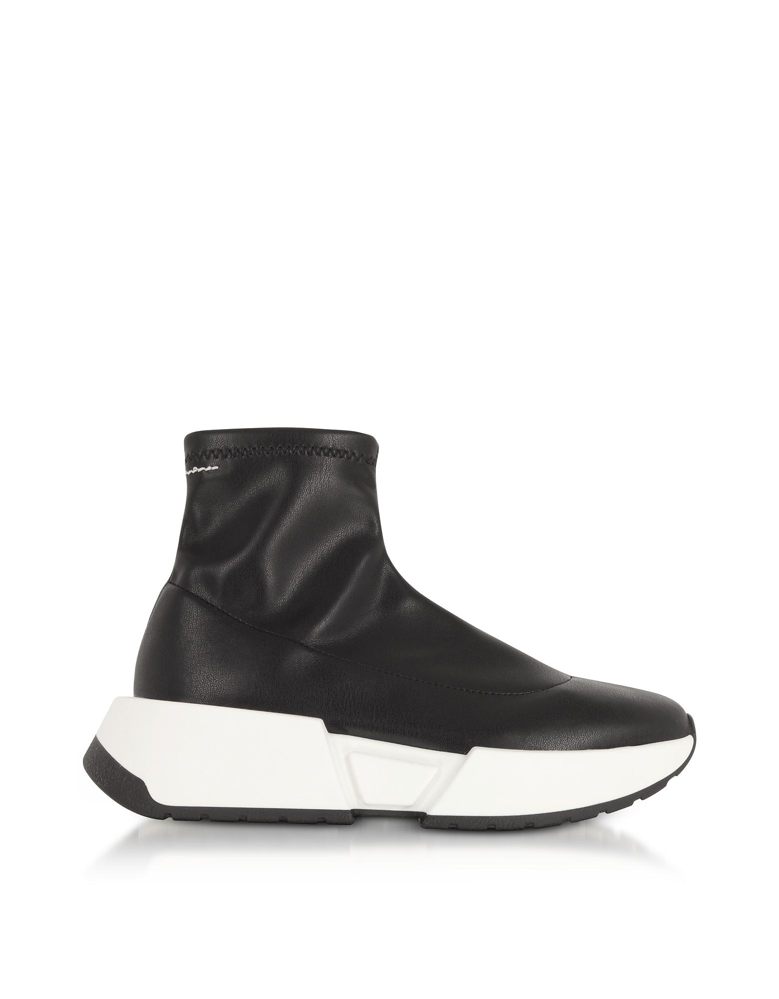 Stretch Noir Cuir De Chaussettes Sneakers