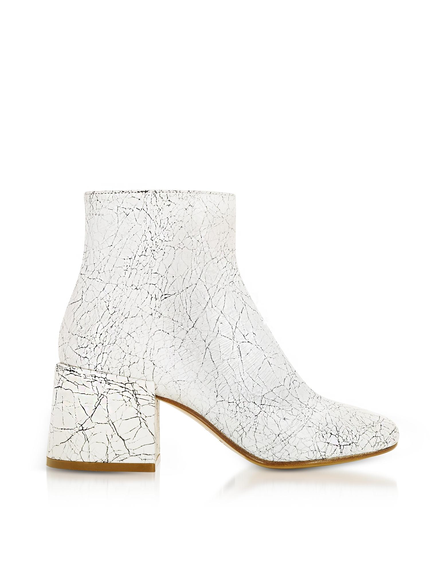 MM6 Maison Martin Margiela Shoes, White Crackled Leather Boots
