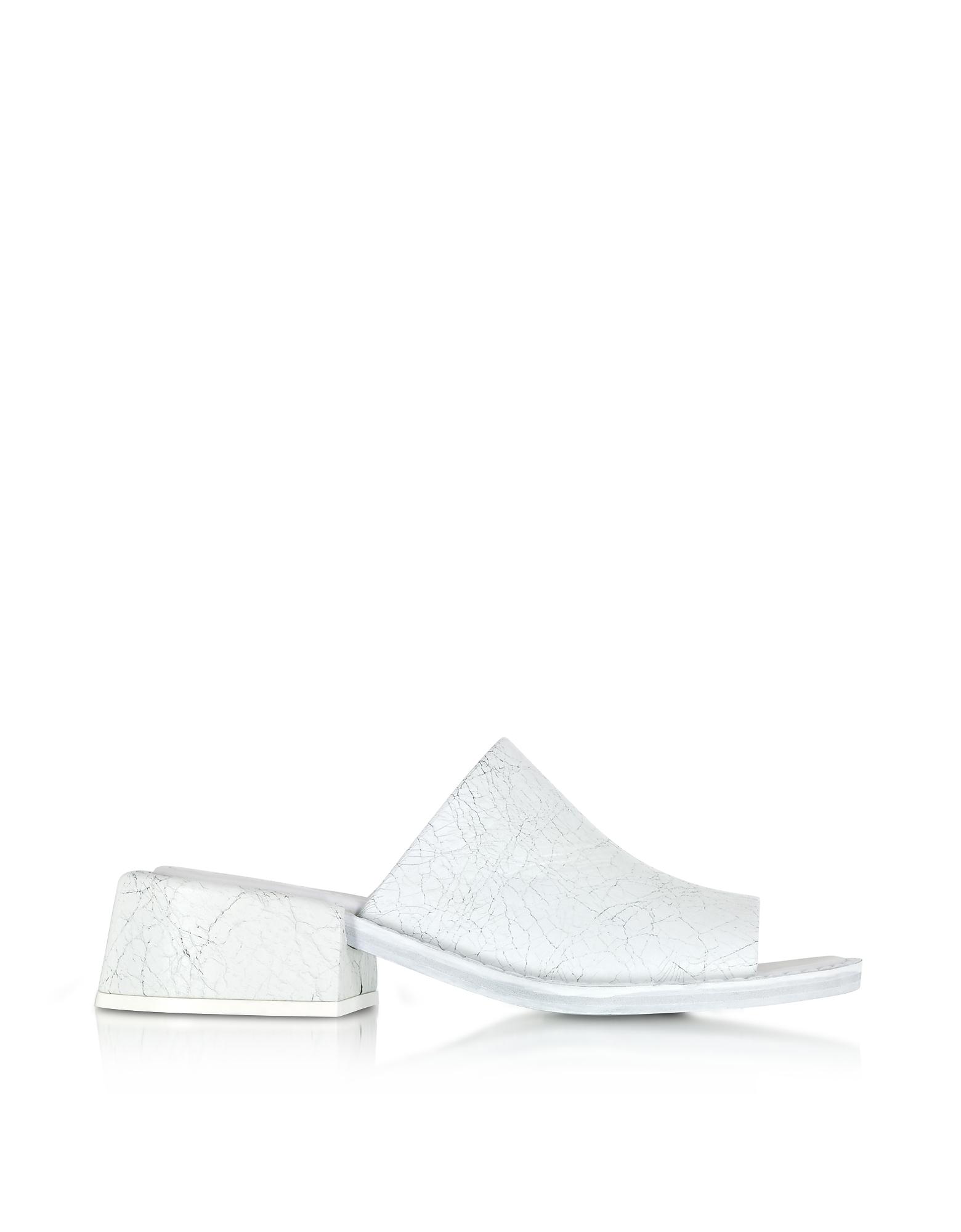 Sandali Slide in Pelle Craquele Bianco Ottico