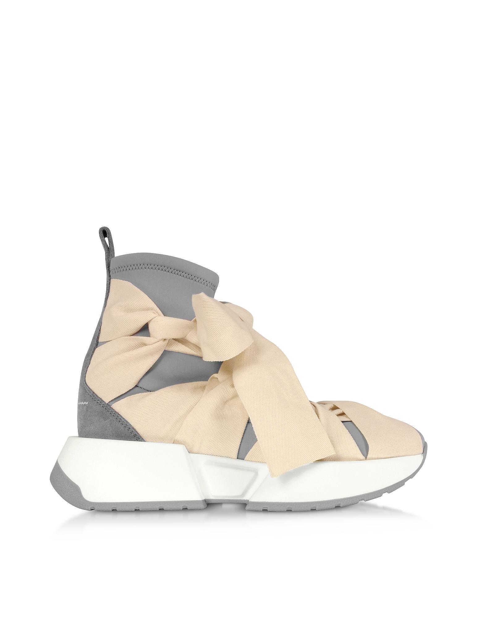 MM6 Maison Martin Margiela Designer Shoes, Ribbon Tied Socks Sneakers