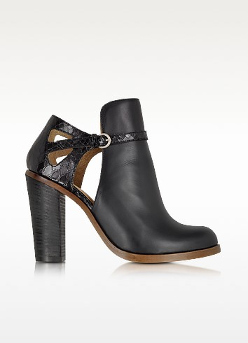Black Cut-out Leather Ankle Boot - MM6 Maison Martin Margiela