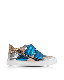 Blue, Copper and Silver Mirror Fabric Women's Sneaker - MM6 Maison Martin Margiela