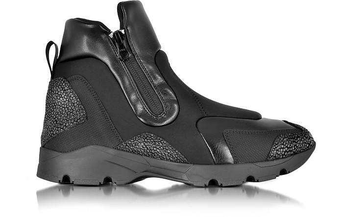 Black Neoprene and Leather High Top Unisex Sneaker - MM6 Maison Martin Margiela