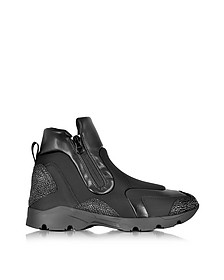 Black Neoprene and Leather High Top Unisex Sneaker - MM6 Maison Martin Margiela