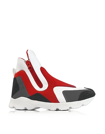 Red/Gray Neoprene and White Leather High Top Women's Shoes