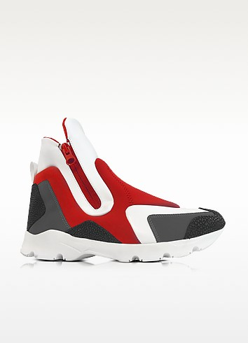 Red/Gray Neoprene and White Leather High Top Women's Shoes - MM6 Maison Martin Margiela