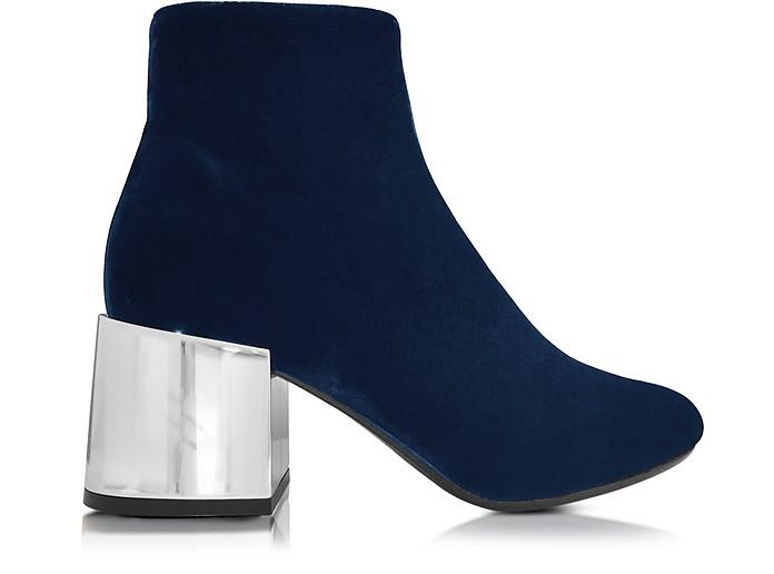 Navy Blue Velvet Boot w/Mirror Heel - MM6 Maison Martin Margiela