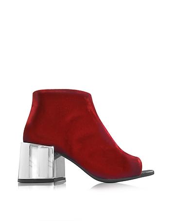 Red Velvet Open Toe Boot w/Mirror Heel