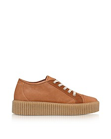 Brown Leather Lace up Women's Sneakers - MM6 Maison Martin Margiela