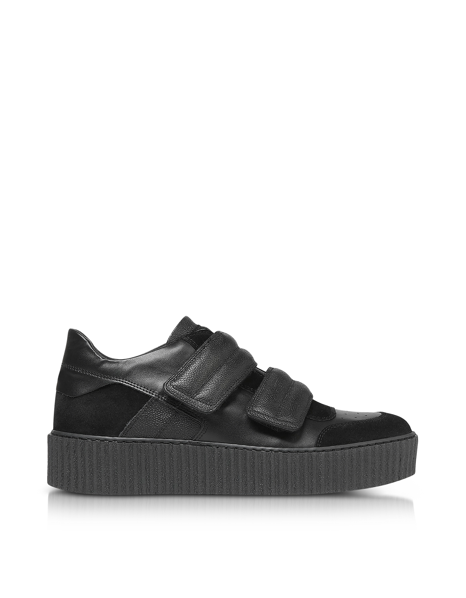 MM6 Maison Martin Margiela Shoes, Black Leather and Suede Women's Sneakers
