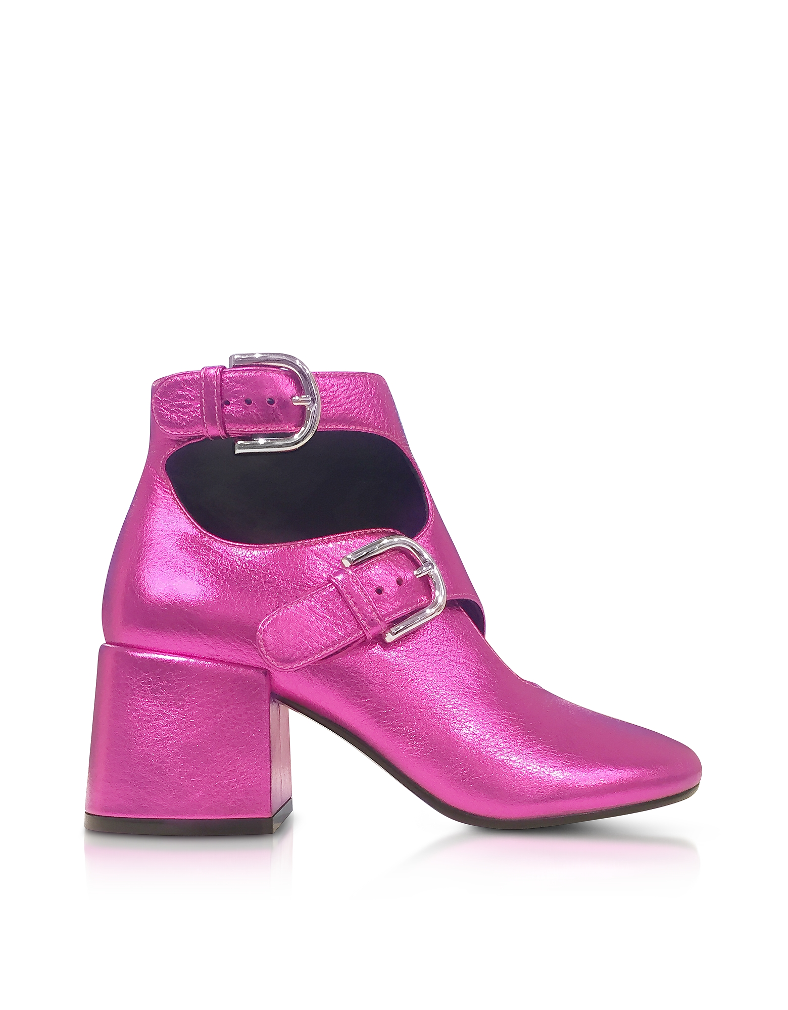 MM6 Maison Martin Margiela Shoes, Pink Laminated Leather Bootie