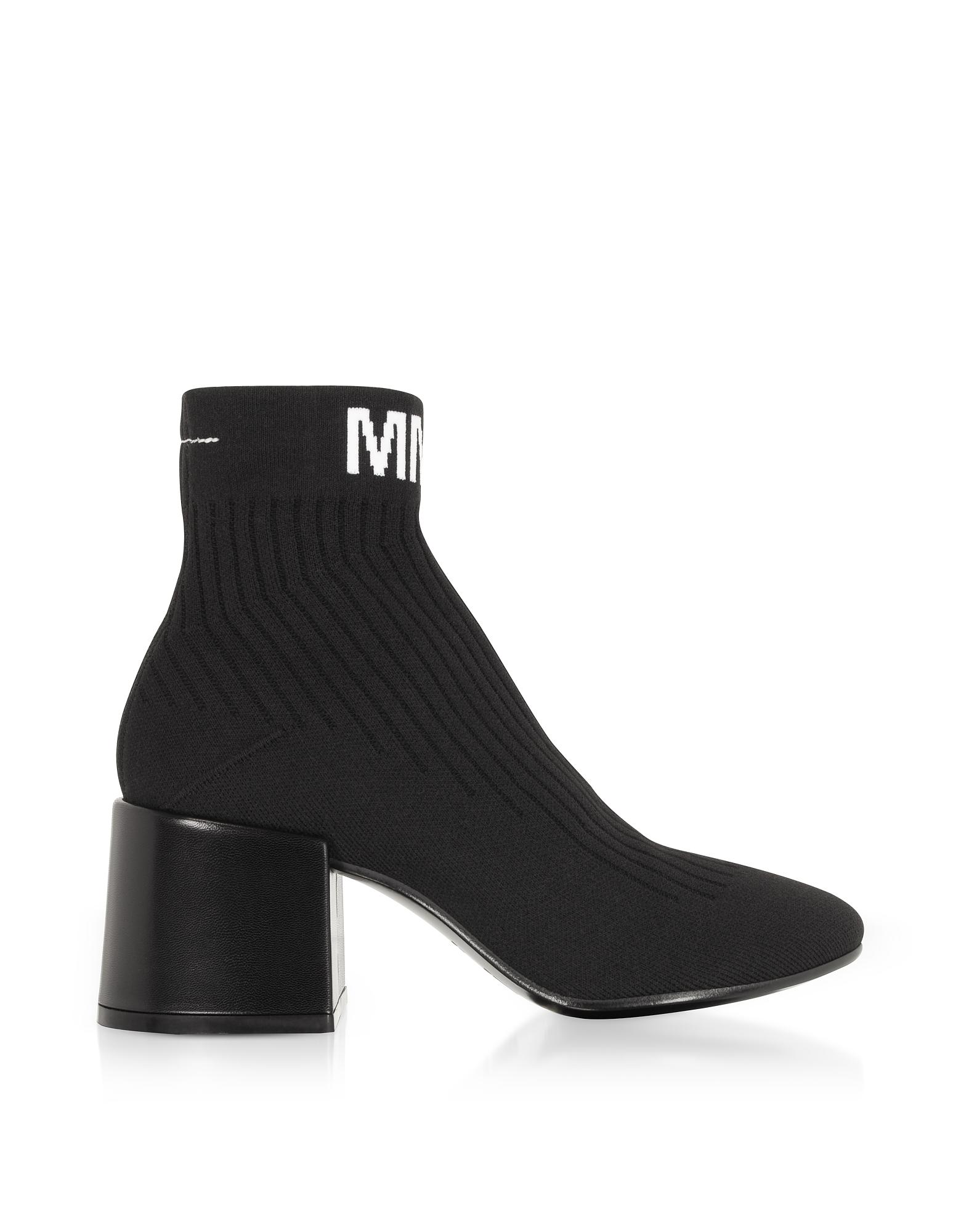 MM6 Heel Sock Booties Neri con Logo