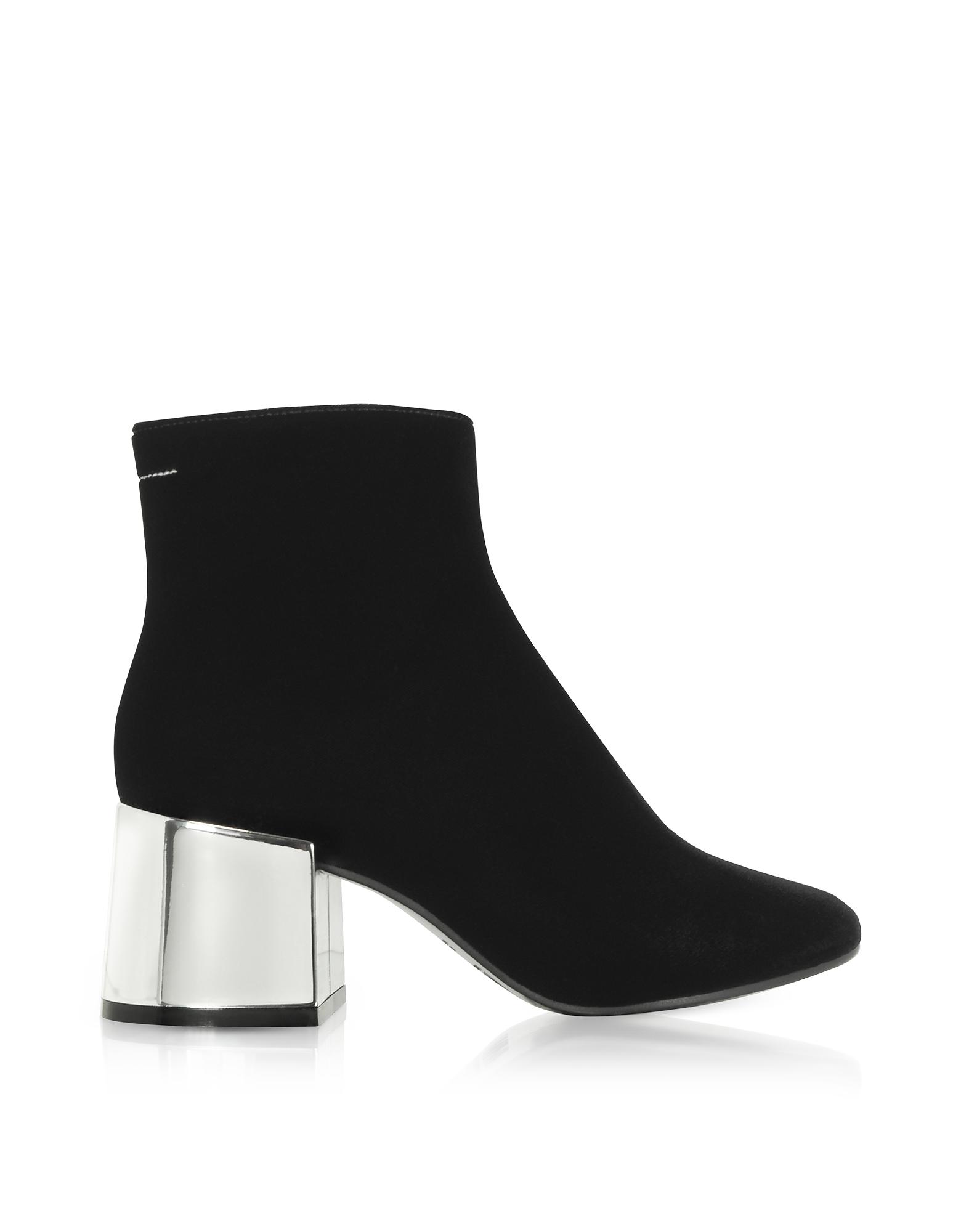 MM6 Maison Martin Margiela Shoes, Black Velvet Boots w/Mirror Heels