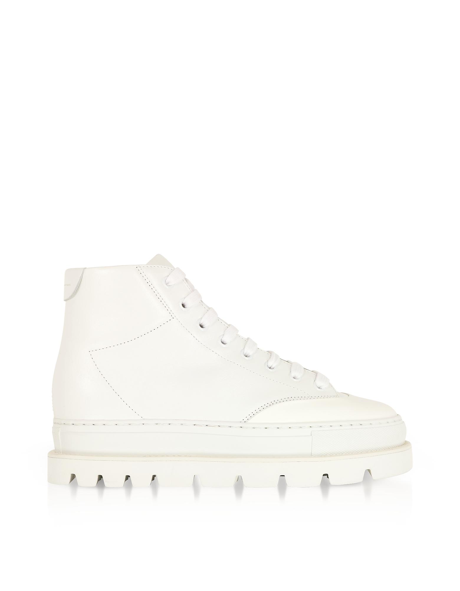 MM6 Maison Martin Margiela Shoes, White Leather Platform Sneakers