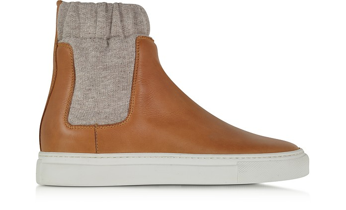 Brown Leather Skater w/Sock Detail - MM6 Maison Martin Margiela