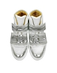 White Distressed Nubuck and Silver Laminated Leather Women's Sneaker - MM6 Maison Martin Margiela