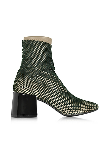 Multicolor Leather and Fabric Bootie