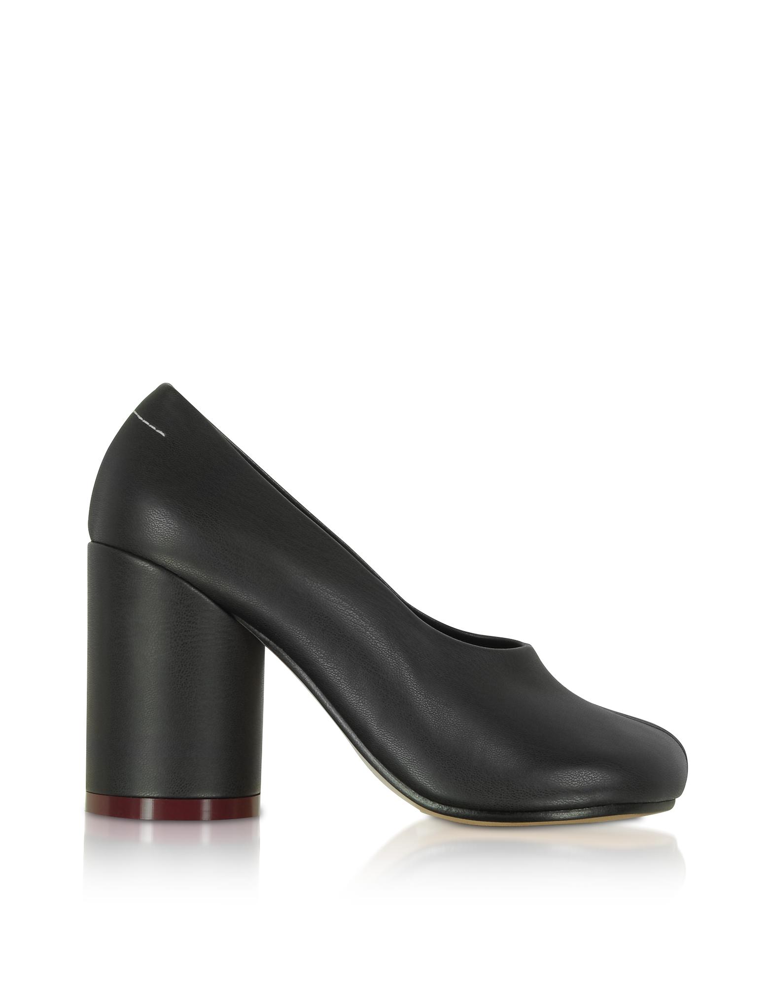 MM6 Maison Martin Margiela Designer Shoes, Black Leather Pumps