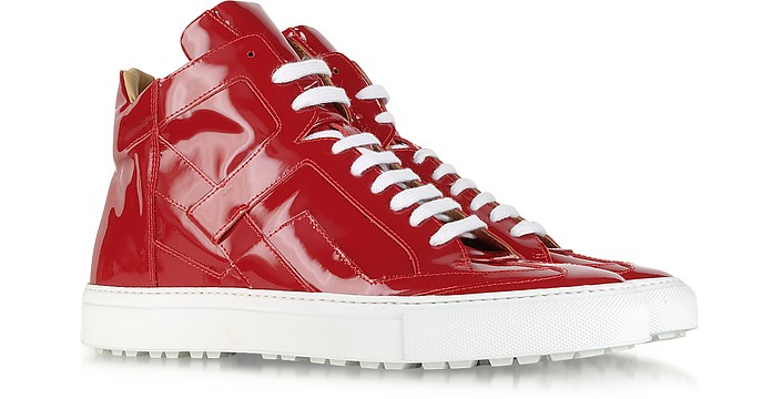 Red High Top Patent Leather Sneakers - MM6 Maison Martin Margiela