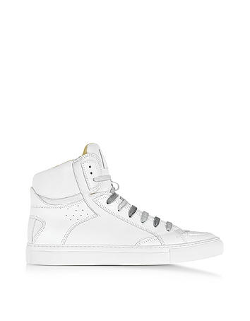 White Leather High Top Sneaker