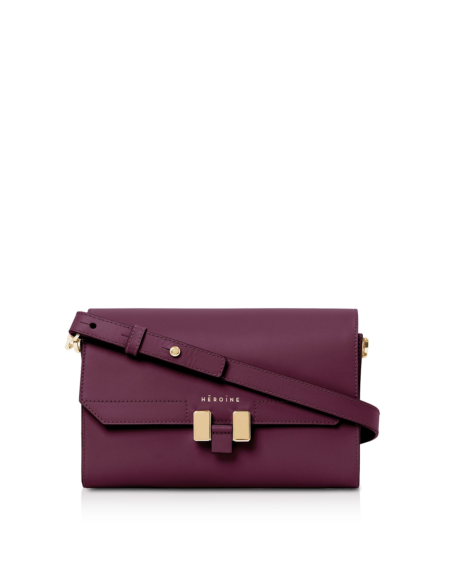 Maison Heroine Designer Handbags, Berry Leather Lilia Tablet Mini Shoulder Bag