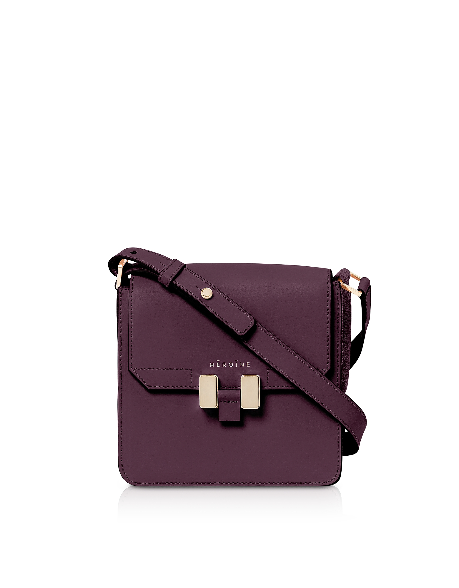 Maison Heroine Designer Handbags, Berry Leather Tilda Phone Mini Bag