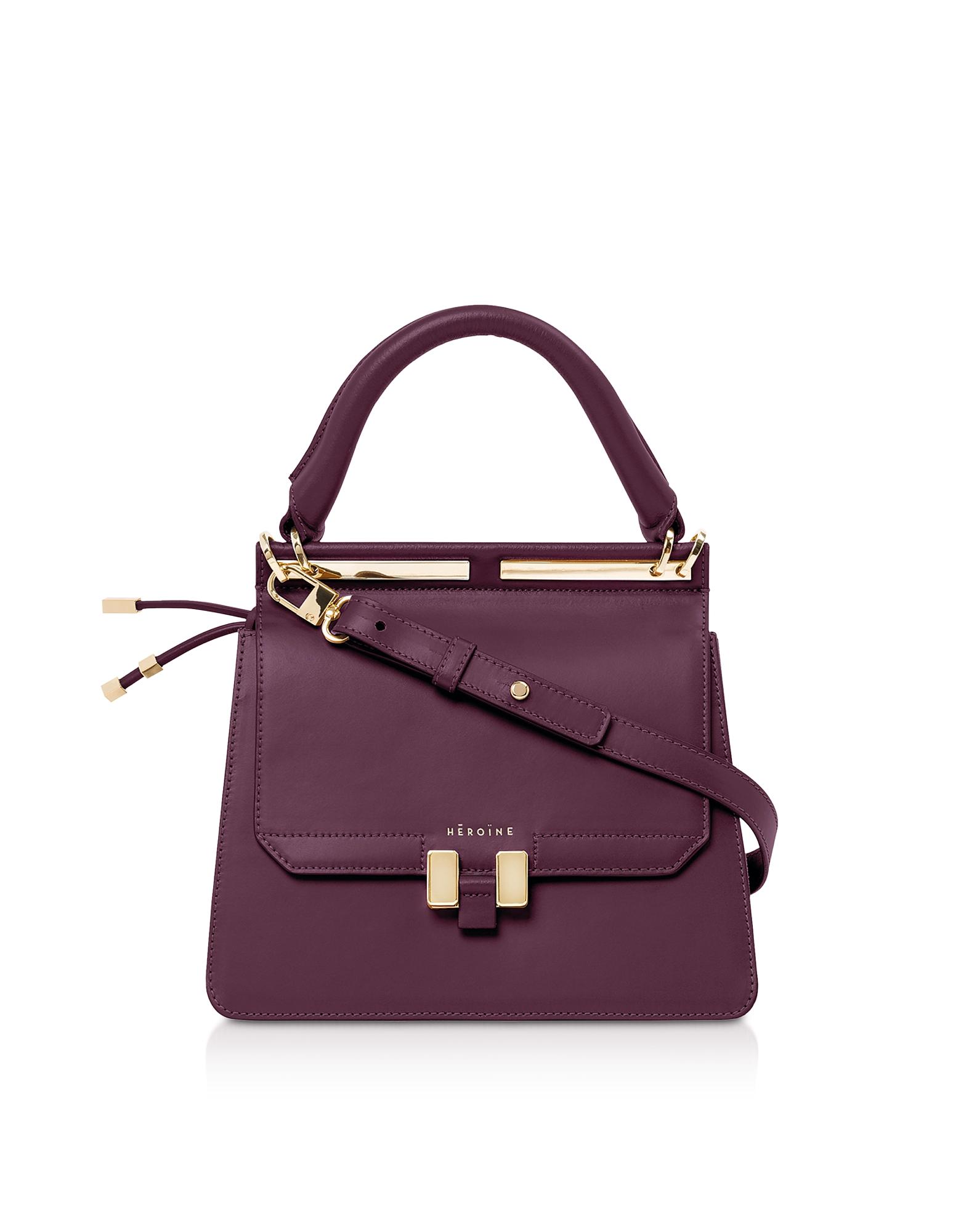 Maison Heroine Designer Handbags, Berry Leather Marlene Mini Tablet Satchel Bag