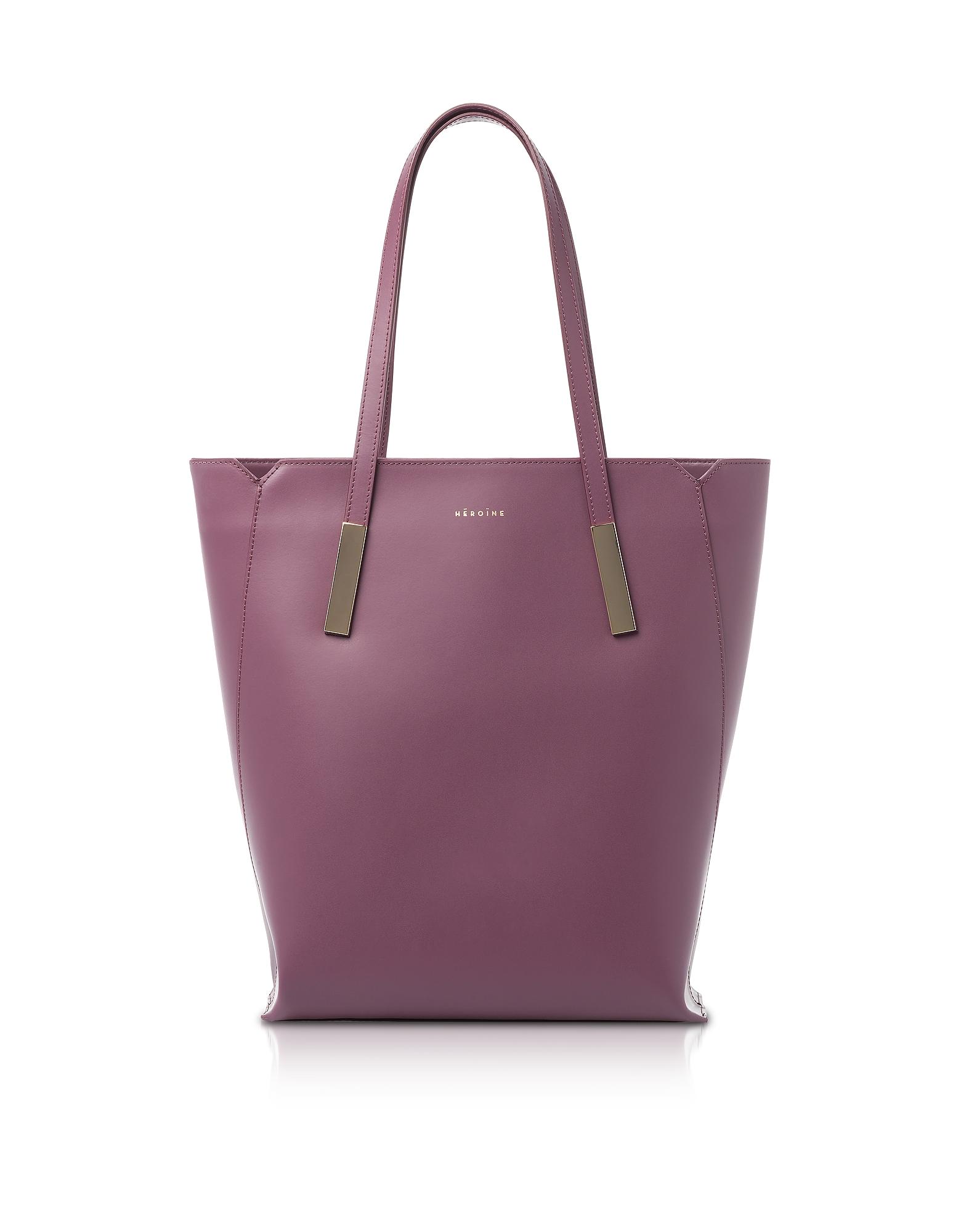 Maison Heroine Designer Handbags, Berry Marta Leather Tote Bag