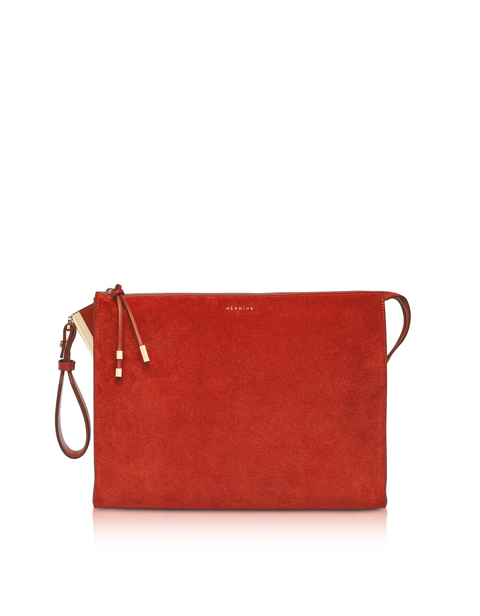 Maison Heroine Designer Handbags, Iva Tablet M Brick Suede Clutch