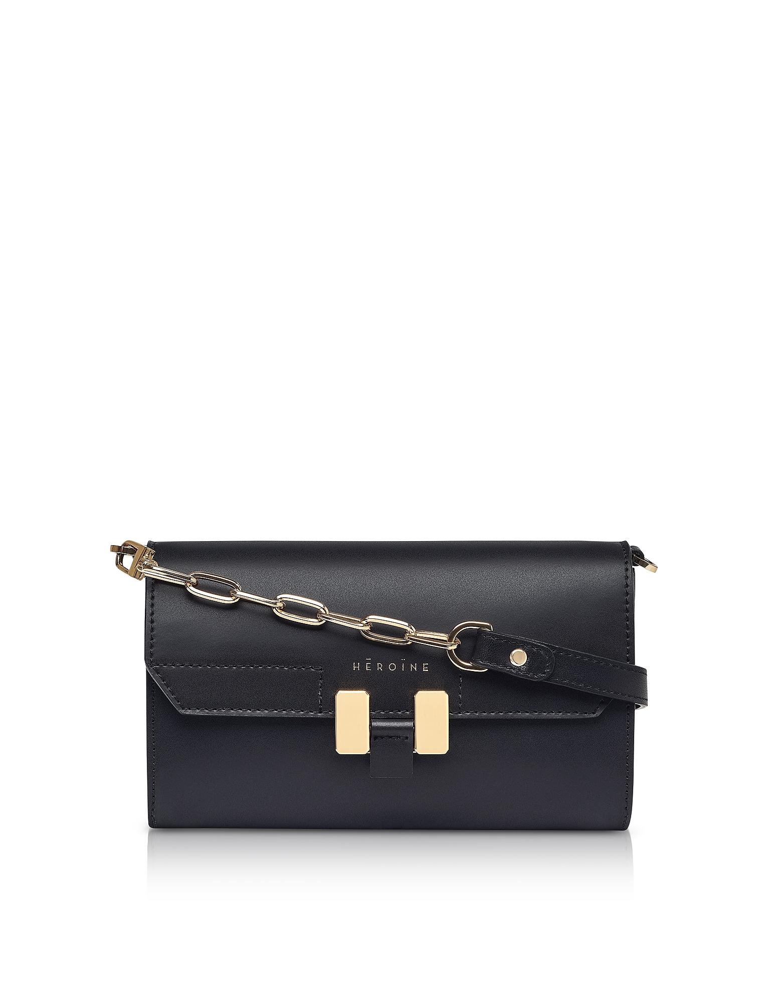Maison Heroine Designer Handbags, Black Carrie Belt Bag