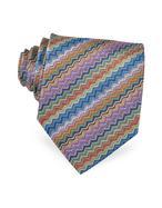 Missoni  Zig Zag Textured Woven Silk Tie