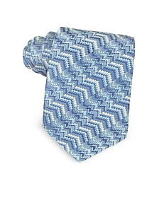 Light Blue Printed Silk Narrow Tie - Missoni