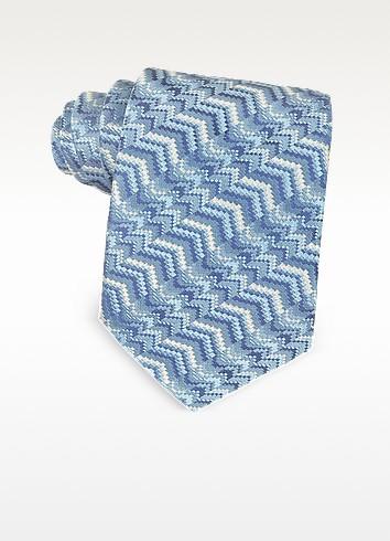 Light Blue Printed Silk Narrow Tie - Missoni