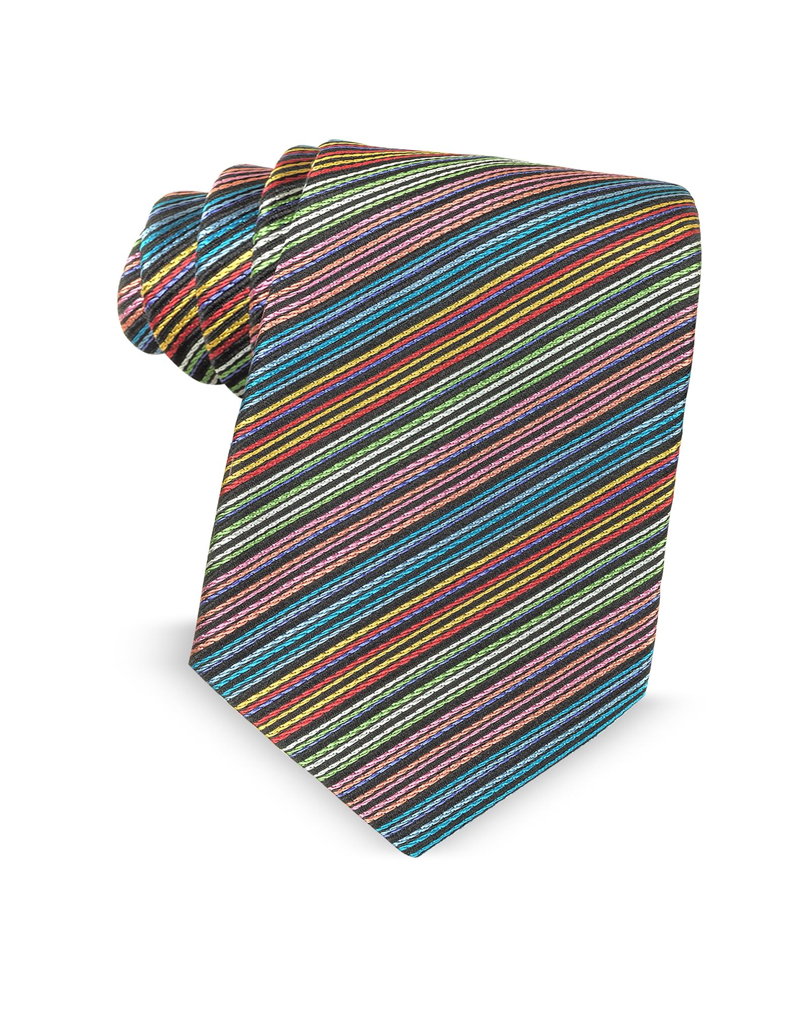 Узкий Шелковый Галстук с Разноцветными Диагональными Полосками