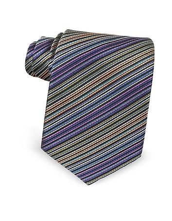 Missoni - Multicolor Diagonal Striped Silk Narrow Tie