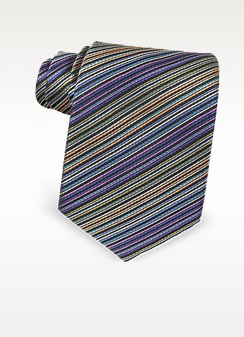 Multicolor Diagonal Striped Silk Narrow Tie - Missoni