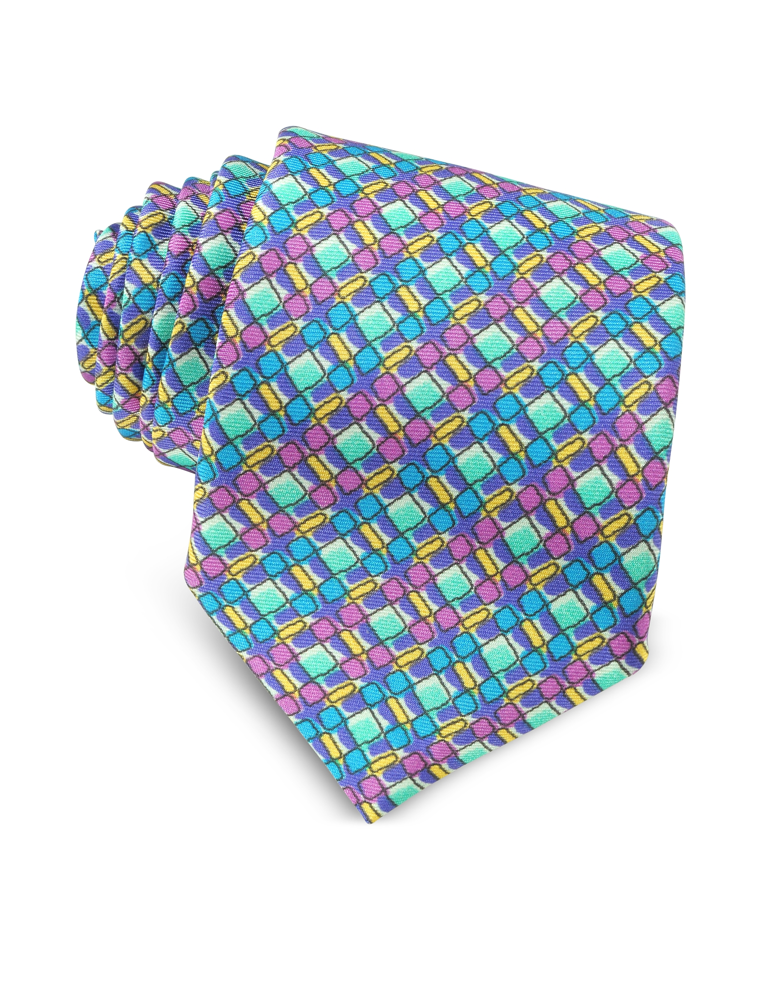 Missoni Ties, Multicolor Geometric Printed Silk Narrow Tie