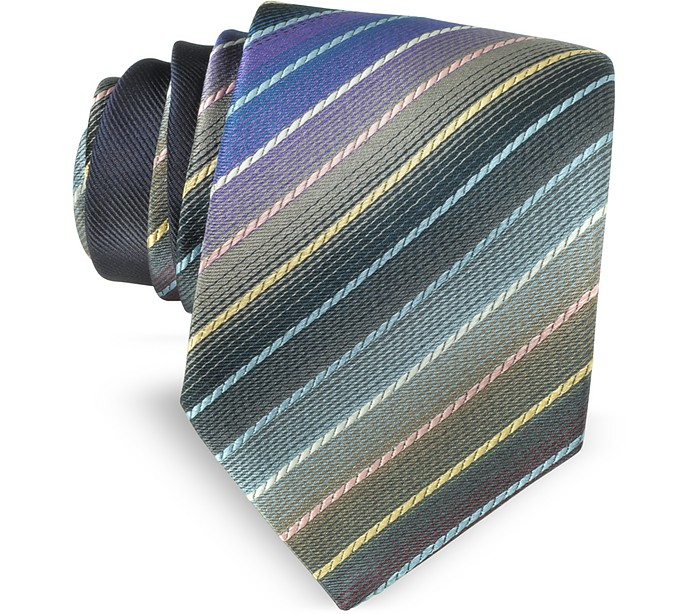 Multicolor Diagonal Striped Woven Silk Narrow Tie - Missoni