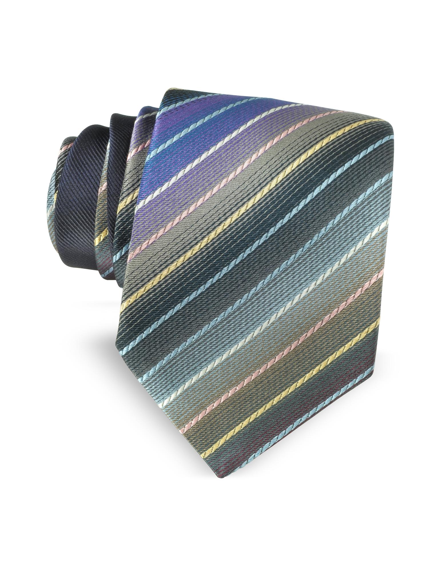 Фото Узкий Шелковый Галстук с Разноцветными Диагональным Полосками. Купить с доставкой