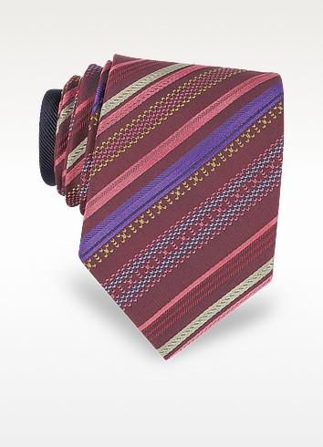Burgundy Diagonal Stripe Woven Silk Narrow Tie - Missoni