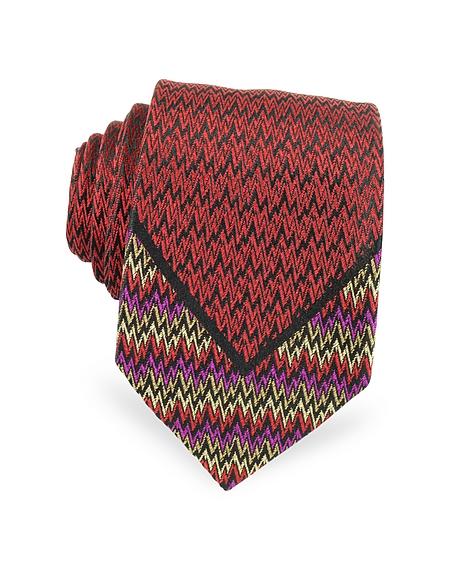 Foto Missoni Cravatta Sottile in Seta Jacquard Multicolor Cravatte
