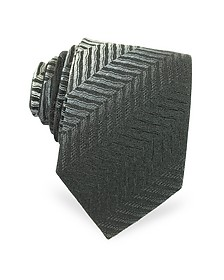 Diagonal Stripe Woven Silk Narrow Tie - Missoni