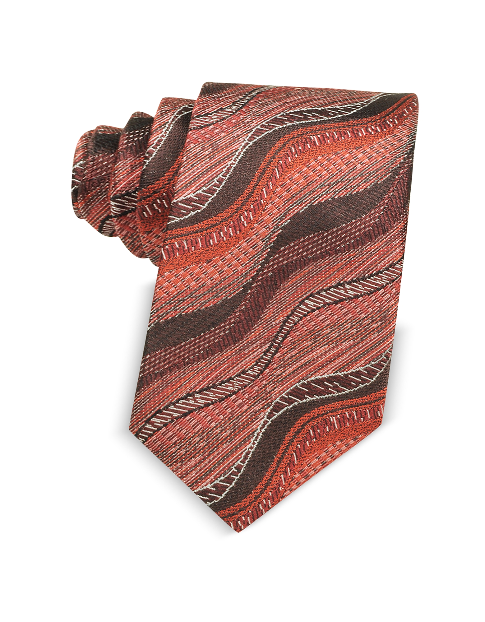 Missoni Ties, Waves Woven Twill Silk Men's Narrow Tie