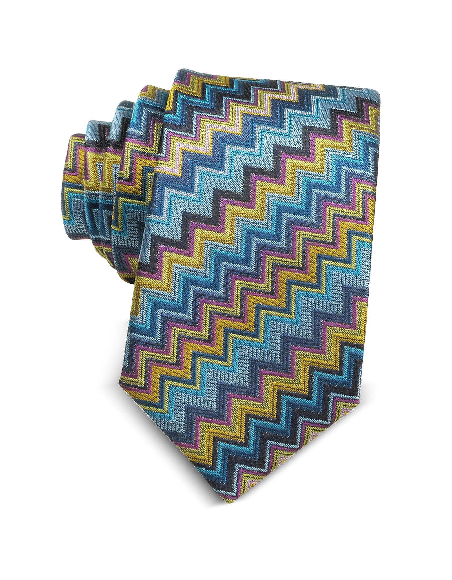Узкий Галстук из Текстурного Шелка с Разноцветным Узором Зиг Заг