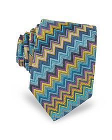 Diagonal Zig Zag Woven Silk Men's Narrow Tie - Missoni