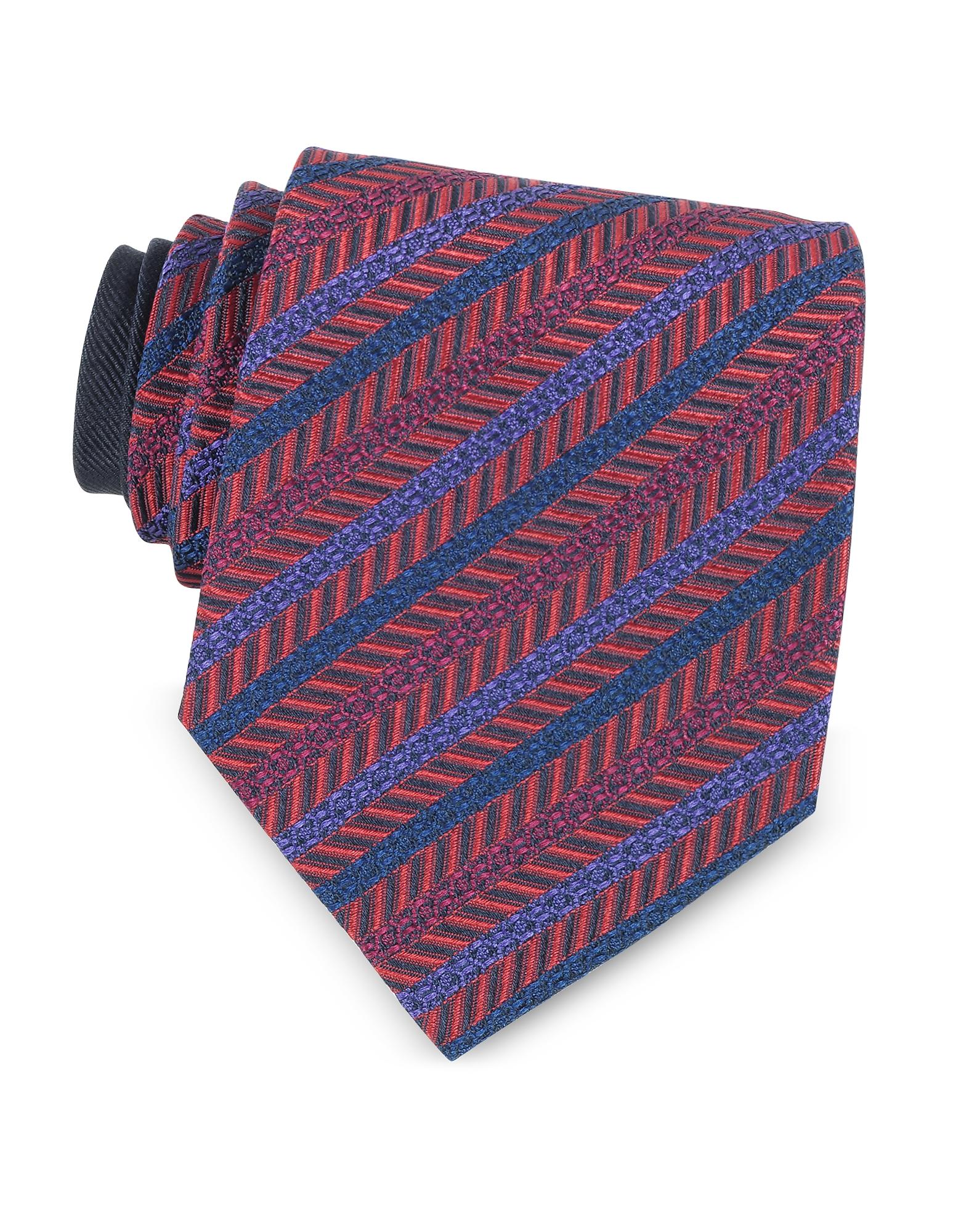Галстук из Текстурного Шелка с Красными и Фиолетовыми Диагональными Полосками