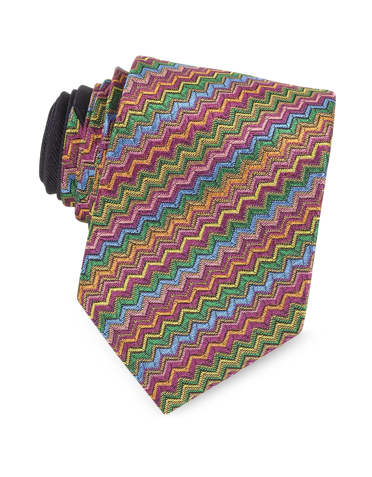 Missoni Ties, Diagonal Zig Zag Woven Silk Narrow Tie