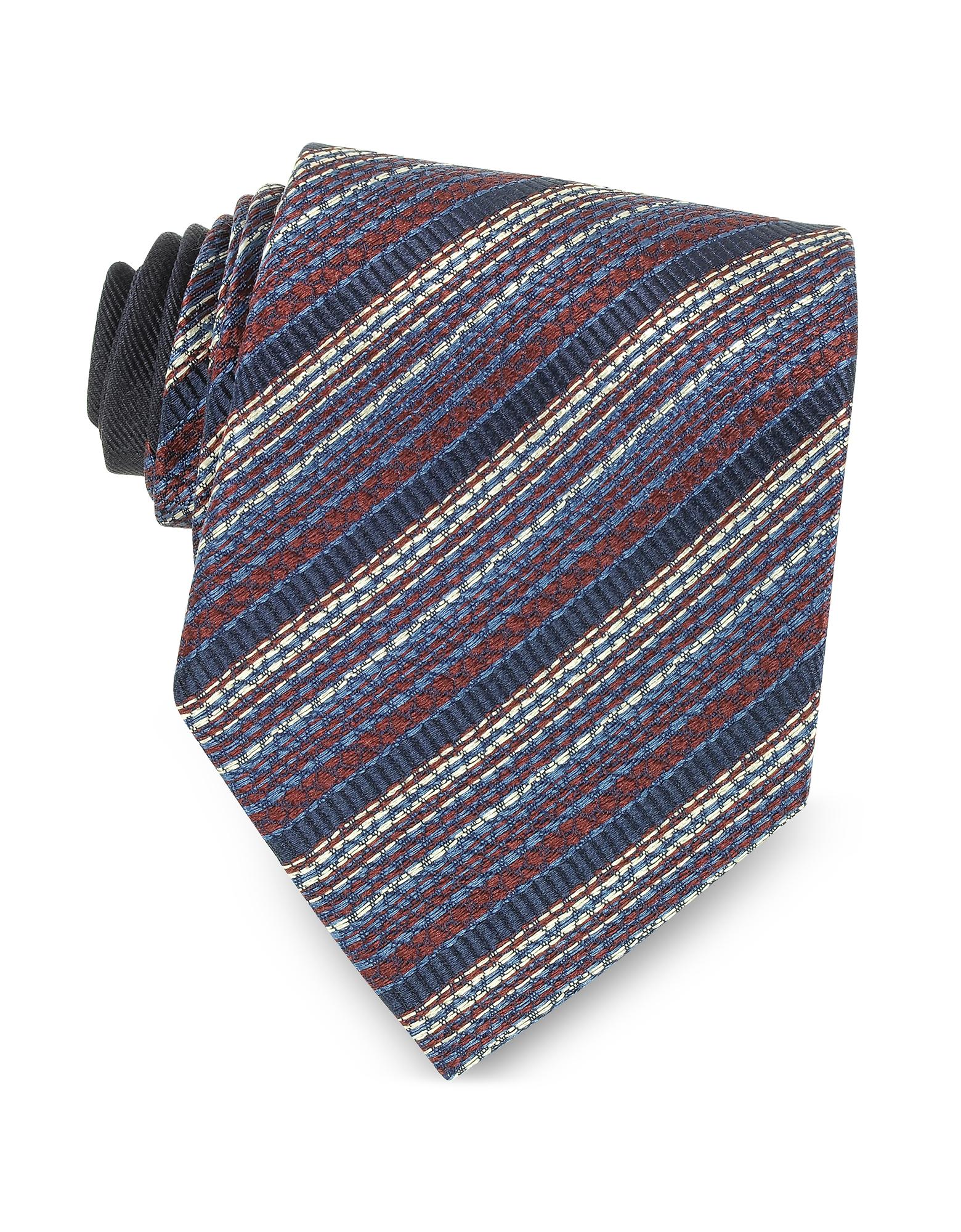 Галстук из Текстурного Шелка с Красными и Синими Диагональными Полосками